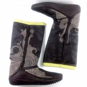 Puma Monsoon Tall Leather Embroidered Boots 7.5W